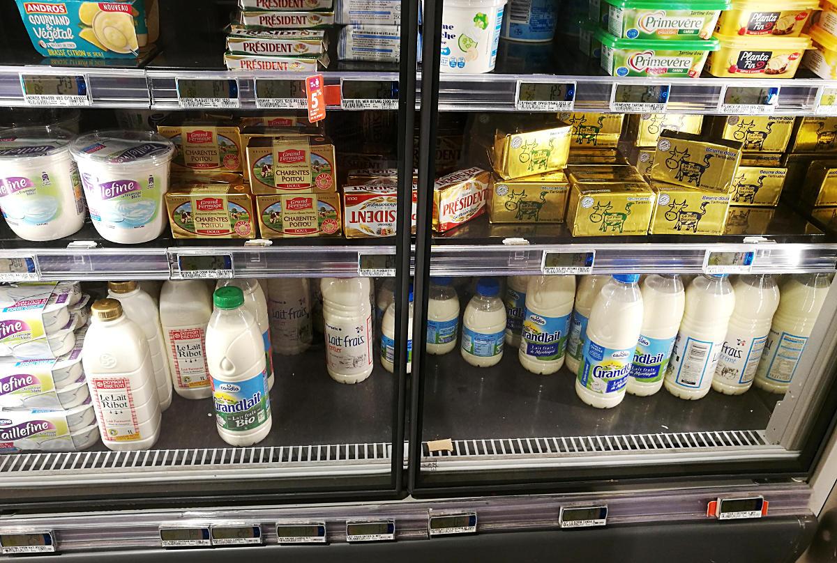 Milk in a French supermarket